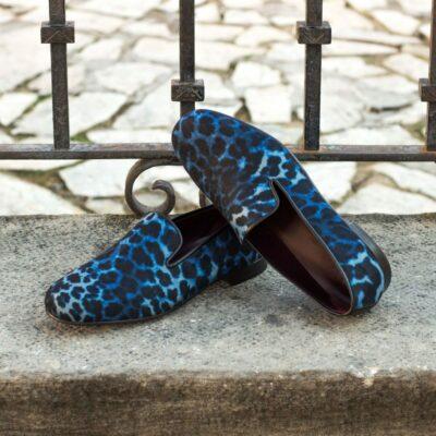 Custom Made Men's Wellington Slipper in Blue Leopard Print Flannel
