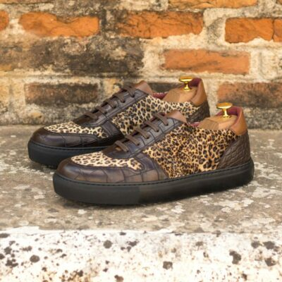Custom Made Women's Trainer in Dark Brown Croco with Leopard Print and Medium Brown Polished Calf Leather