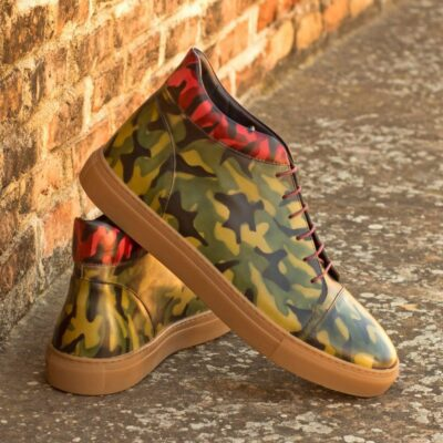Custom Made High Top in Italian Calf Leather with a Burgundy and Khaki Camo Hand Patina Finish