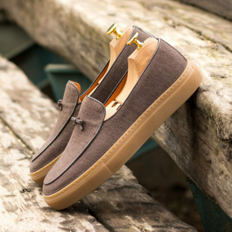 Custom Made Men's Belgian Sneaker in Brown Linen and Dark Brown Box Calf