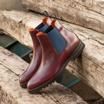 Custom Made Men's Chelsea Boot Classic in Burgundy and Navy Blue Box Calf
