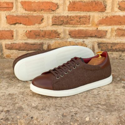 Custom Made Men's Cupsole Trainers in Brown Flannel and Dark Brown Box Calf