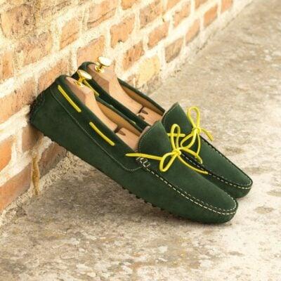 Custom Made Men's Driving Loafer in Dark Green Suede
