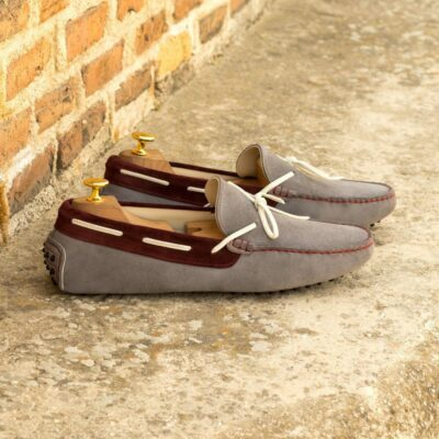 Custom Made Men's Driving Loafer in Grey and Velvet Suede