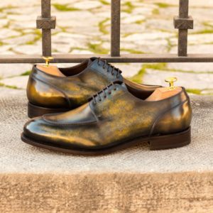 Custom Made Men's Goodyear Welt Split Toe Derby in Italian Calf Leather with a Khaki and Green Hand Patina
