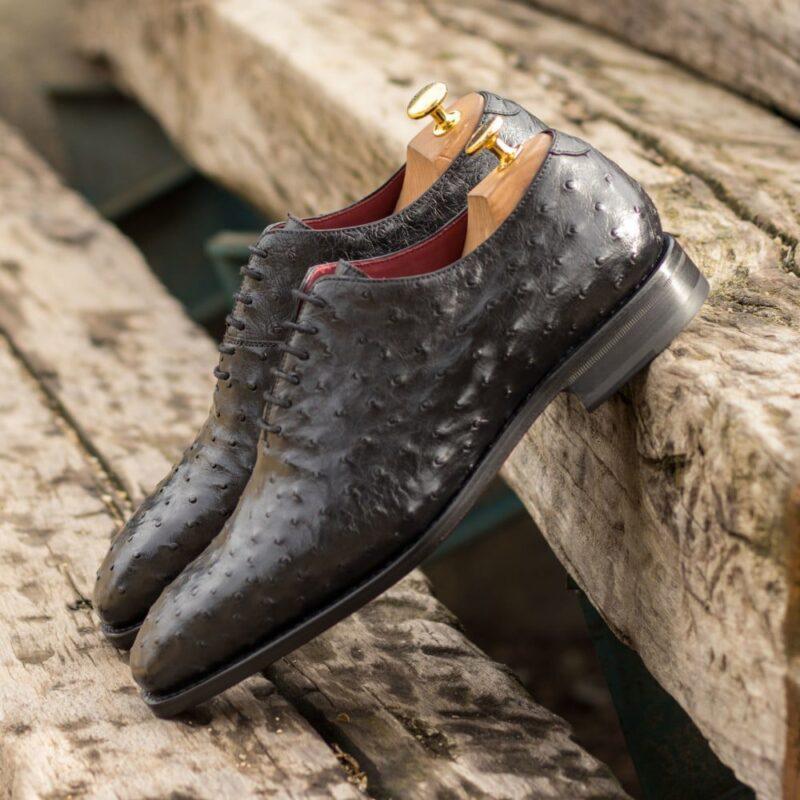 Custom Made Men's Goodyear Welt Wholecut Dress Shoes in Black Genuine Ostrich