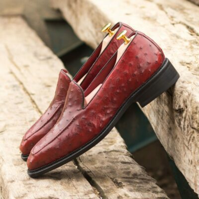 Custom Made Men's Goodyear Welted Loafers in Red Genuine Ostrich