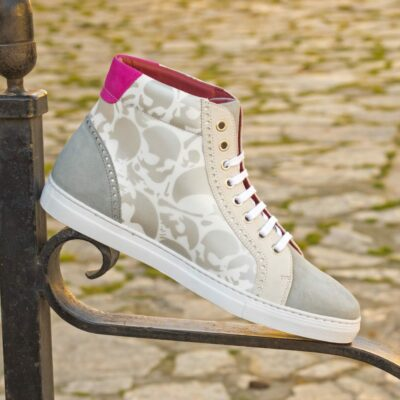 Custom Made Men's High Kick in White Box Calf Leather and Light Grey Suede with Stencil Art