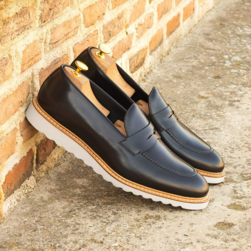 Custom Made Men's Loafers in Black Polished Calf Leather