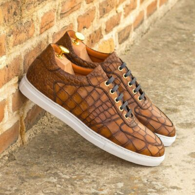 Custom Made Men's Low Top Trainer in Medium Brown Croco Embossed Calf
