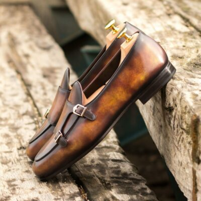 Custom Made Men's Monk Slippers in Italian Calf Leather with a Fire Hand Patina