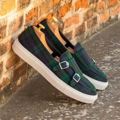 Custom Made Men's Monk Sneaker in Blackwatch Wool