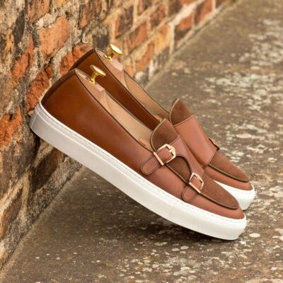 Custom Made Men's Monk Sneaker in Medium Brown Box Calf with Medium Brown Luxe Suede