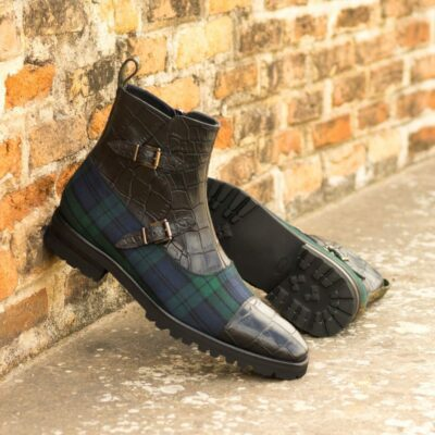 Custom Made Men's Octavian Boot in Black Painted Croco Embossed Calf and Blackwatch with Olive Green Painted Croco