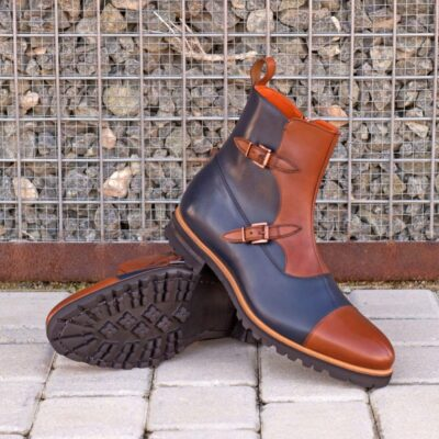 Custom Made Men's Octavian Boot in Navy Blue and Medium Brown Box Calf