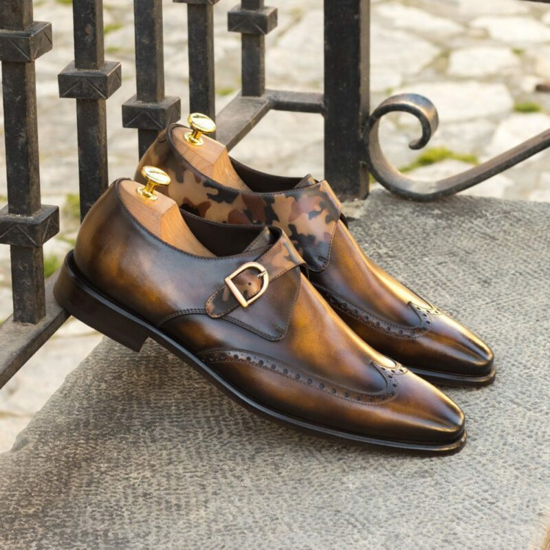 Custom Made Men's Single Monks in Italian Calf Leather with a Tobacco and Brown Hand Patina