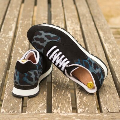 Custom Made Men's Sneaker in Black Kid Suede and Blue Leopard Print