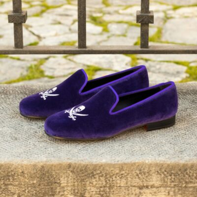 Custom Made Men's Wellington Slipper in Purple Velvet