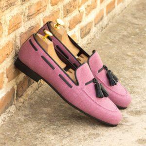 Custom Made Men's Wellington Slippers with Albert Tassels in Plum Linen