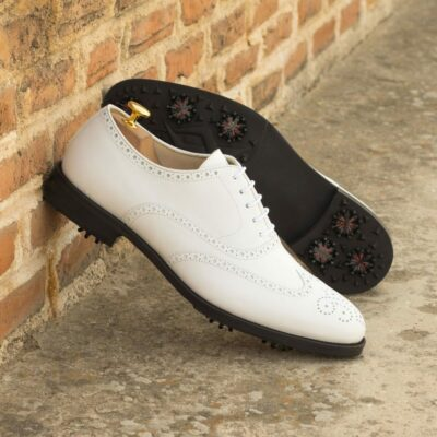 Custom Made Men's Wingtip Golf Shoe in White Box Calf with Softspikes