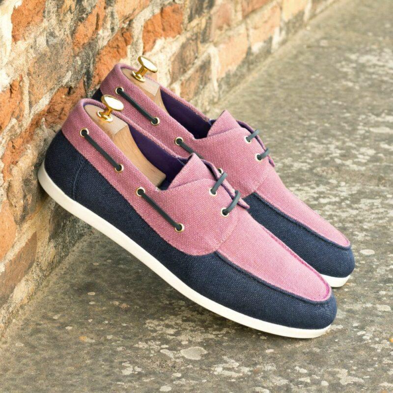 Custom Made Men's Boat Shoe in Navy Blue and Plum Linen