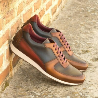 Custom Made Men's Corsini Jogger in Burnished Multi Color Painted Calf Leather