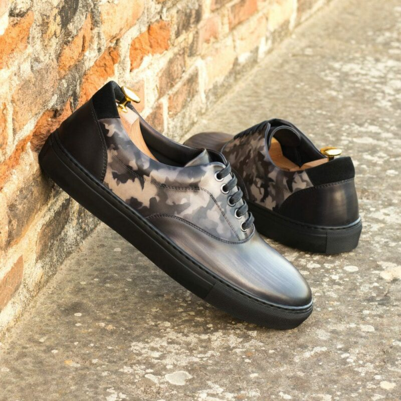 Custom Made Men's Cupsole Top Sider in Italian Calf Leather with a Grey Hand Patina and Black Painted Calf