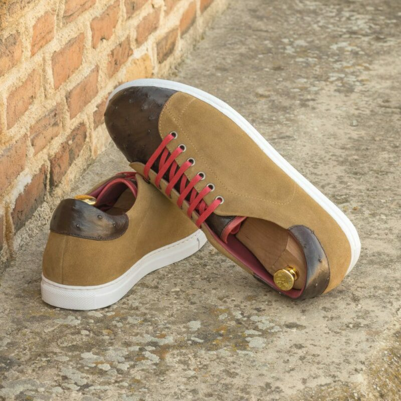 Custom Made Men's Cupsole Trainers in Camel Luxe Suede with Dark Brown Genuine Ostrich