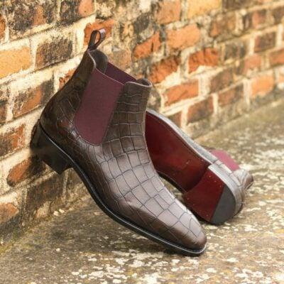 Custom Made Men's Goodyear Welt Chelsea Boot Classic in Dark Brown and Burgundy Painted Croco Embossed Calf