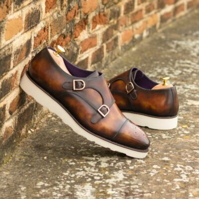 Custom Made Men's Goodyear Welt Double Monk in Italian Calf Leather with a Fire Hand Patina