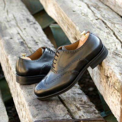 Custom Made Men's Goodyear Welt Wingtips in Black Box Calf