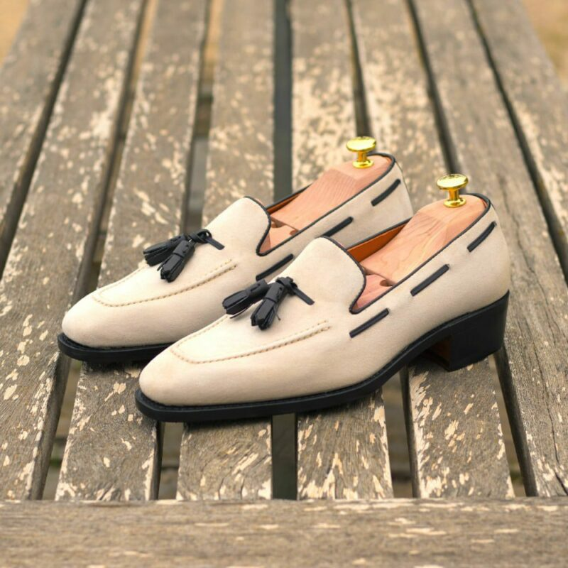 Custom Made Men's Goodyear Welted Loafers in Ivory Kid Suede with Black Box Calf