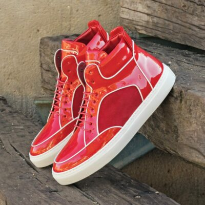 Custom Made Men's High Top II in Red Patent Leather and Red Kid Suede