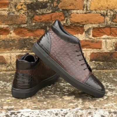 Custom Made Men's High Top in Burgundy and Black Genuine Alligator