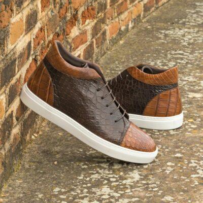 Custom Made Men's High Top in Medium and Dark Brown Genuine Alligator