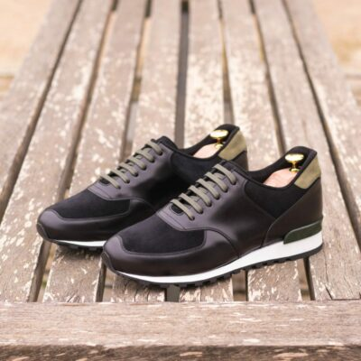 Custom Made Men's Sneaker in Black Polished Calf with Black Luxe Suede and Khaki Kid Suede