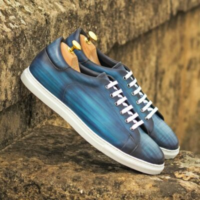 Custom Made Men's Cupsole Trainers in Italian Calf Leather with a Denim Blue Hand Patina Finish