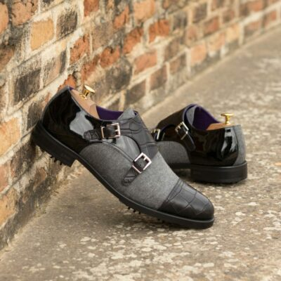 Custom Made Men's Double Monk Golf Shoes in Black Croco, Black Patent Leather and Light Grey Flannel with Softspikes® cleats