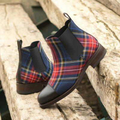 Custom Made Men's Goodyear Welt Chelsea Boot Classic in Tartan and Black Box Calf