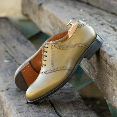 Custom Made Men's Goodyear Welt Saddle Shoes in Olive Green Painted Calf Leather