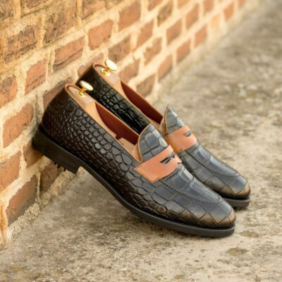 Custom Made Men's Loafer Golf Shoes in Black Painted Croco and Cognac Painted Calf with Softspikes®