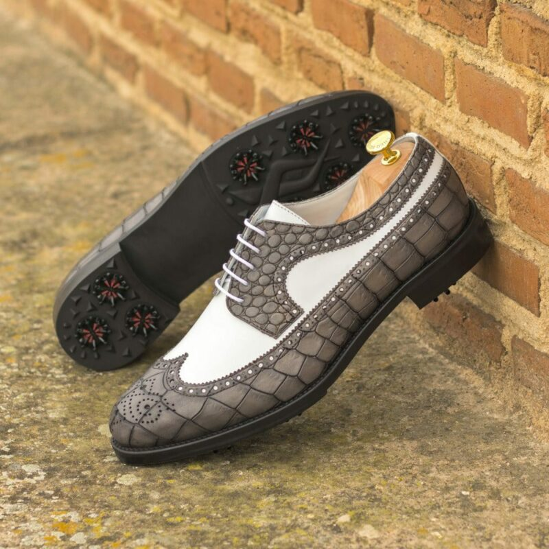 Custom Made Men's Longwing Blucher Golf Shoe in Grey Painted Croco and White Box Calf with Softspikes®