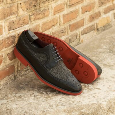Custom Made Men's Longwing Blucher in Black Painted Calf and Herringbone with Red Painted Calf