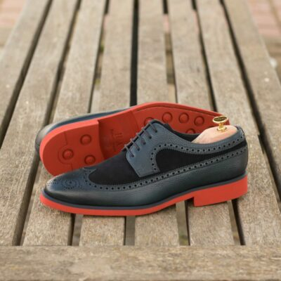 Custom Made Men's Longwing Blucher in Navy Blue Painted Pebble Grain and Navy Blue Luxe Suede