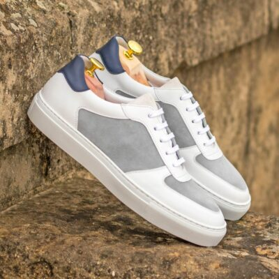 Custom Made Men's Low Top Trainer in White and Navy Blue Box Calf with Light Grey and White Kid Suede