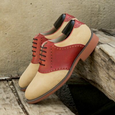 Custom Made Men's Saddle Shoes in Red Full Grain Leather and Sand Luxe Suede