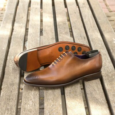 Custom Made Men's Wholecut Dress Shoes in Burnished Cognac Painted Calf Leather