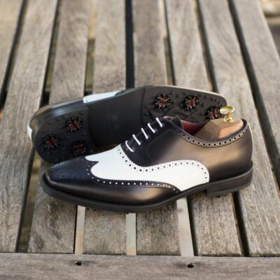Custom Made Men's Wingtip Golf Shoe in Black Polished Calf and White Box Calf with Softspikes