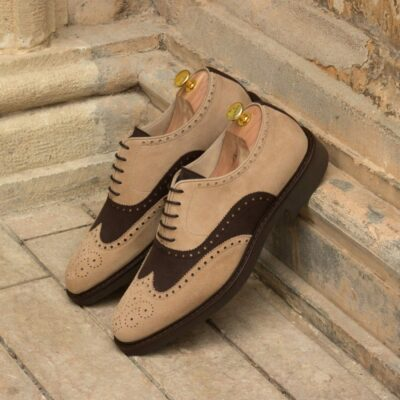 Custom Made Men's Wingtips in Taupe and Brown Kid Suede