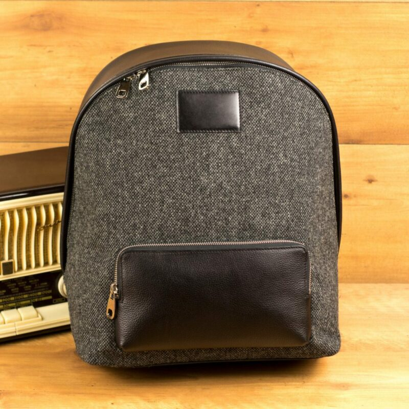 Custom Made Backpack in Black Painted Full Grain Leather and Nailhead